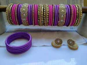 Lovely Pink And Purple Silk Thread Bangles Round Work Carry in Pooja Bangles