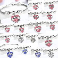 Love Heart Bead Mom Grandma Sister Teacher Best Friend Gift Chain Charm Bracelet