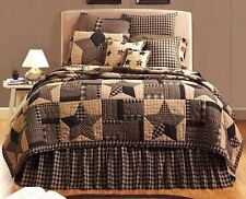 Bingham Star King Quilt Hand Stitched Black & Tan Country Strip Block Patchwork