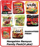 4 Pack Nongshim Shin Noodle Ramyun Kimchi Neoguri Chapagetti Ramen Collection