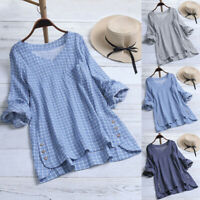 Women Long Tops Cotton Linen V Neck Plaid Check Blouse Casual Loose Tunic Top