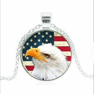 American Eagle Patriotic United States of America Flag Necklace Red White Blue