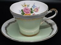Royal Stafford tea cup and saucer green and gilt floral excellent condition