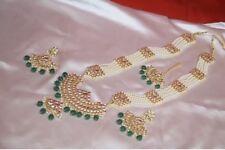 Indian Pakistani Bollywood Kundan & Green Long Rani necklace,earring & mangtikka