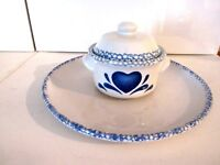 HOME TRENDS STONEWARE CHIP & DIP W/LID PLATTER BLUE HEARTS