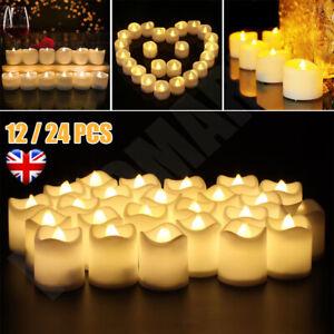 24PCS Led Tea Lights Candles LED FLAMELESS Battery Operated Wedding XMAS UK