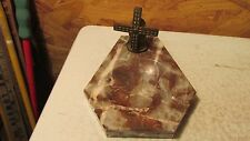Antique Marble Ashtray Brass Dutch Windmill