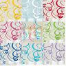 8 Coloured Hanging Swirls Party Decorations Multi Birthday Wedding Baby Shower