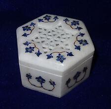 "3""x3""x2"" Alabaster Marble Trinket Box Lapis Stone Inlaid Arts Remembrance Sunday"