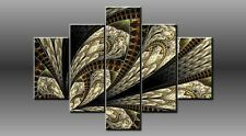 "LARGE ABSTRACT GOLD BLACK WHITE CANVAS WALL PICTURE FLASH ART 40"" 28"" 0333/5"