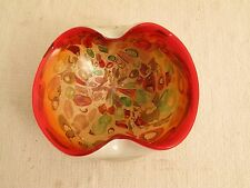 VTG ORANGE GOLD GREEN ART GLASS MURANO ? NICE FOLDED EDGES