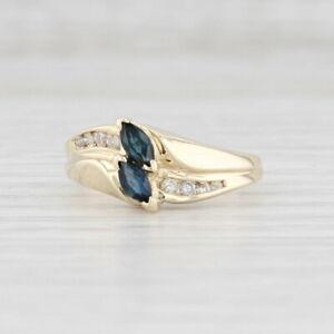 0.48ctw Blue Sapphire Diamond Ring 10k Yellow Gold Size 5.5 Bypass Band
