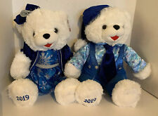 Holiday Time 2019 Mr & Mrs Blue Silver Glitter Snowflake White Teddy Bear NWT