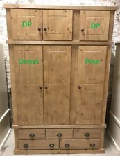 SOLID PINE AYLESBURY TRIPLE 5 DRAWER ROBE + TOP BOX WITH RUSTIC HANDLES