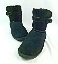Bearpaw Women's Black Suede Leather Boots Soft Fur Lining Size: 9