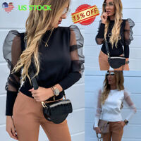 Women's Tulle Ruffle Long Puff Sleeve Shirt Loose Transparent Casual Tops Blouse