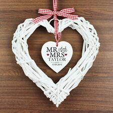 Onorevole personalizzata e & Mrs VIMINI CUORE decorazione wedding Day REGALO ANNIVERSARIO