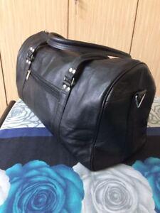 "20"" Black Leather Duffle Travel Bag Weekend Luggage Carryon Aircabin Handbag"