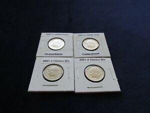 2001 S GEM 90 %Silver Proof +  Clad Proof + Philadelphia and Denver BU Roosevelt