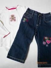 osh kosh girls blue jeans size 18 months gingerbread tee shirt white pink