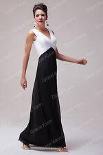 BLACK WHITE Long Prom Dresses Wedding Formal Evening Party Maxi Gowns Bridesmaid