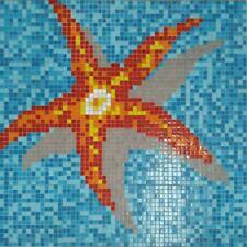 Glasmosaik Bild Seestern papierverklebt 116,4x116,4cm Pool Schwimmbad |MB-K39P