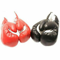 2 PAIRS 16 OZ BOXING PRACTICE TRAINING GLOVES Sparring Faux Leather Red Black