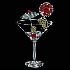 Twisted Envy Summer Cocktail Iron On Hotfix Diamante Motif Rhinestone Transfer