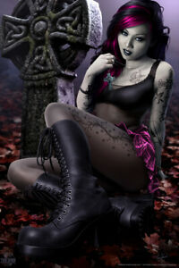 Goth Girl Tom Wood Fantasy Art Poster 12x18 inch