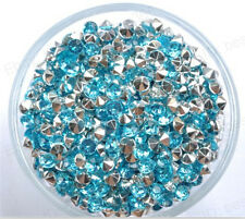 500Pcs Blue Acrylic Crystal Point Back Rhinestone Gems beads 3MM