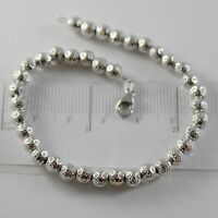 18K WHITE GOLD BRACELET WITH FINELY WORKED SPHERES 5 MM BALLS MADE IN ITALY
