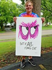 """Signed Reese James 1970's Let it All Hang Out Poster NOS LrG 35""""x 23"""" Vagabond"""