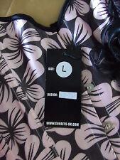 Www.corsets-UK.COM Design SJ-191 Negro/Rosa corsé deshuesado con detalle floral L