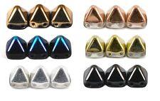 6mm Czech Glass Two Hole Pyramid Square Beads 20pcs