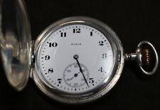 Antique Elgin Sterling Silver Pocket Watch-1900-12s-Bird Motiff-15 Jewels