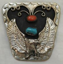Vintage Native American Silver Tie Clasp with Silver Eagle, Turquoise & Coral
