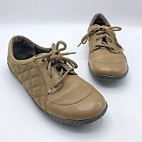 Born D87022 Women Tan Brown Quilted Suede Leather Comfort Shoe Size 9M Pre Owned