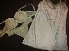 NWT Victoria's Secret BRA SET+SLIP 36D/L GREEN ivory white BRIDAL crystallized