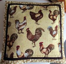 Landhaus Kissen Hülle liebevolle Handarbeit Hühner Hahn Handarbeit 40x 40 cm