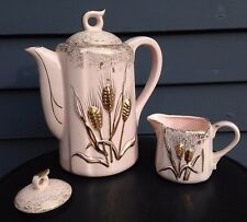 Vtg Geo Z Lefton tea coffee pot creamer pink gold Raised Wheat 1956 mid cent mod
