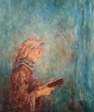 "ITZHAK TORDJMAN ""WOMAN PRAYING"" MIXED MEDIA ORIGINAL ON CANVAS H/S COA 26X20"