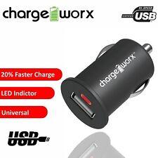 USB Car Charger Cigarette Lighter Socket Chargeworx Mobile Fast Charge LED Black