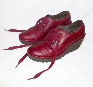 Fly London Soft Leather Shoes, Lace-up/Platforms, Wine Red, Size 38