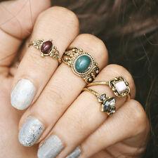 4pcs/set Women Retro Bohemian Finger rings Boho Gem Stone Midi Knuckle Ring Set