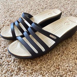 Crocs Rhonda Wedge Navy Blue Slide Sandals Sz 8 EUC