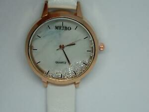 Women's Floating Stones Rose Gold Plate Round Marble effect dial strap watch