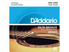 D'Addario EZ940 Muta di corde per chitarra 12 corde acustica Light 010-050