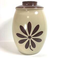 Vintage Bartlett Collins Brown Beige Daisy Cookie Jar With Lid Retro