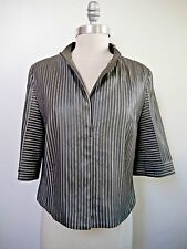 AKRIS $3,500 olive gray leather strip and silk jacket size 6 WORN ONCE