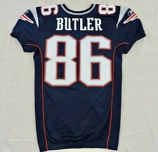 NEW ENGLAND PATRIOTS CARSON BUTLER #86 Game Used NFL Sewn Reebok Home Jersey